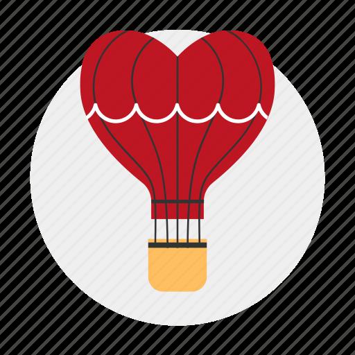 aerostat, air balloon, dating, heart, love icon