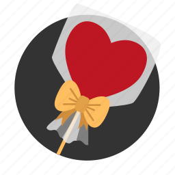 candies, gift, heart, lollipop, love, present, sweet icon
