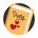 amorousness, beguin, book, diary, heart, memory, secret icon