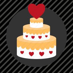 cake, celebration, heart, pie, relationships, sweet, wedding icon