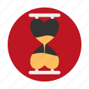 clock, dating, heart, hourglass, love, sand, time icon