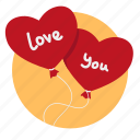 air balloons, balloon, balloons, gift, heart, love, present icon