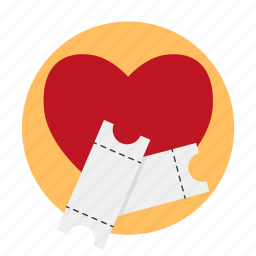 beguin, date, heart, love, movie tickets, romantic movie, tickets icon