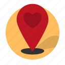 date, dating, direction, heart, location, pin icon
