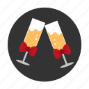 bow, celebration, champagne, date, dating, happiness, wedding icon