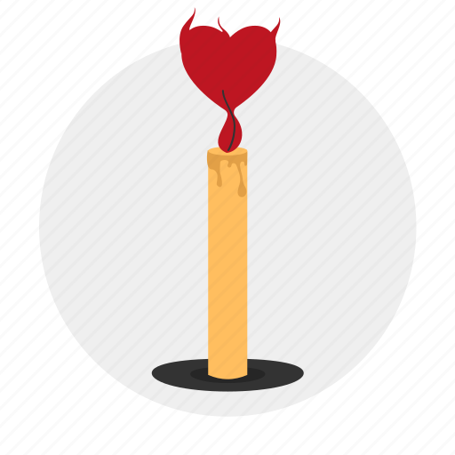 candle, dating, fire, heart, love icon