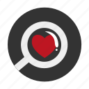 heart, loupe, love, magnifier, reading-glass icon
