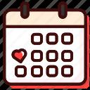 calendar, date, day, love, schedule, time, valentine icon