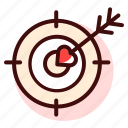 archery, arrow, cupid, focus, goal, point, target icon