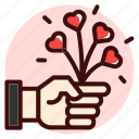 floral, flower, flowers, give, hand, heart, valentine icon