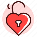 heart, key, lock, love, security, unlock, valentine icon