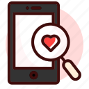 love, match, mobile, phone, search, searching icon