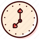 clock, heart, love, minute, romantic, second, time icon