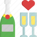 champagne, drink, glass, heart, romance, valentine, valentine's day icon