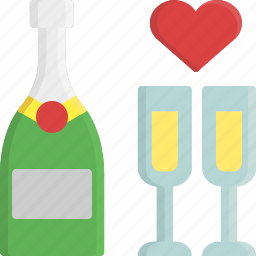 champagne, drink, glass, heart, romance, valentine, valentine's day icon