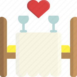 dinner, food, heart, restaurant, romance, valentine, valentine's day icon