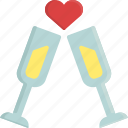 champagne, drink, glass, heart, love, valentine, valentine's day icon