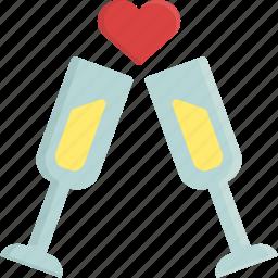 champagne, drink, glass, heart, love, valentine, valentine's day icon