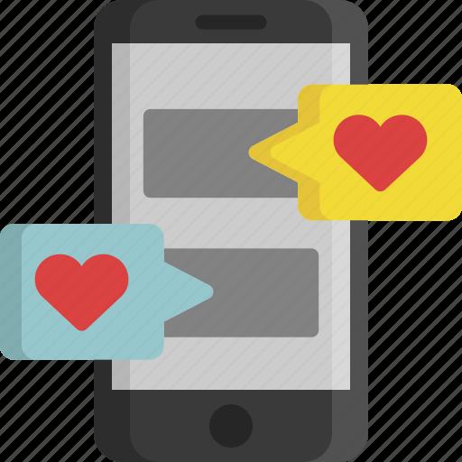 chat, heart, love, message, phone, valentine, valentine's day icon