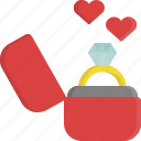 gift, jewel, love, ring, romance, valentine, valentine's day icon