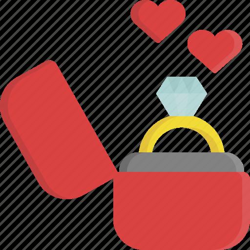 gift, jewel, love, ring, romance, valentine, valentine's day icon