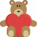 bear, heart, love, peluche, teddy, valentine, valentine's day icon