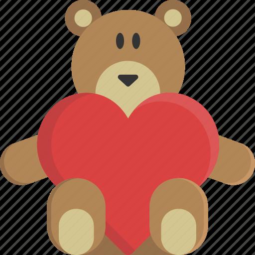 bear, heart, love, peluche, teddy, valentine, valentine's day icon