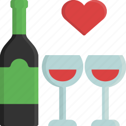 alcohol, drink, glass, love, valentine, valentine's day, wine icon