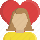 heart, love, relationship, romance, valentine, valentine's day, woman icon