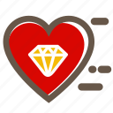 diamont, heart, love, lovers, red, valentine's icon