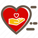give, hand, heart, help, love, red, valentine's icon