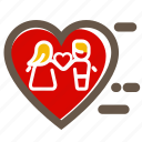 couple, heart, love, lovers, red, two, valentine's icon