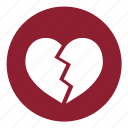 broken heart, brokenheart, heart, love, pain, valentine's, valentines icon