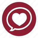 bubble, chat, heart, love, speech, talk, valentine icon