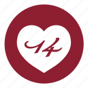 date, day, event, heart, love, valentine, valentines icon