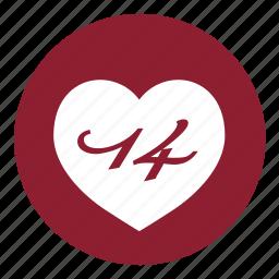 date, day, event, heart, love, valentine, valentines icon