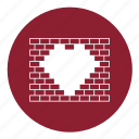 bricks, heart, love, street art, valentine, valentines, wall icon