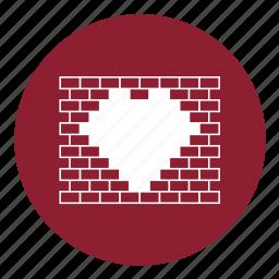 bricks, heart, love, street art, valentine, valentines, wall icon