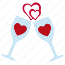 glass, love, romantic wine, valentine, wine icon