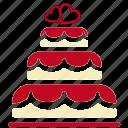 cake, love, romance, valentine icon