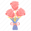bunch, day, flowers, love, rose, valentine icon