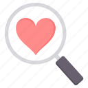 find, love, search, valentine icon