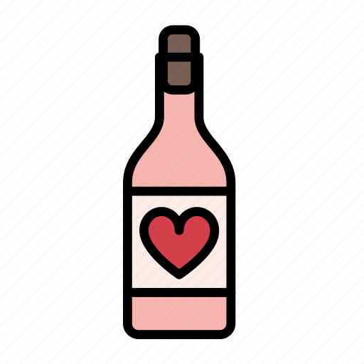 alcohol, beverage, drink, love, romantic, valentine, wine icon