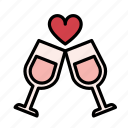 alcohol, cup, drink, heart, love, valentine, wine icon