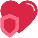 heart, love, protect, security, shield, valentine's day icon