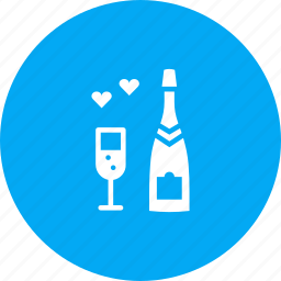 celebrate, champagne, date, day, heart, love, valentines icon