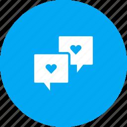 bubble, chat, love, message, romance, talk, valentines icon