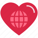 earth, favorite, globe, heart, love, valentine's day, world icon
