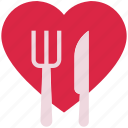 dining, fork, heart, knife, love, valentine's day