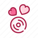 cd, heart, love, music, romantic, valentine icon